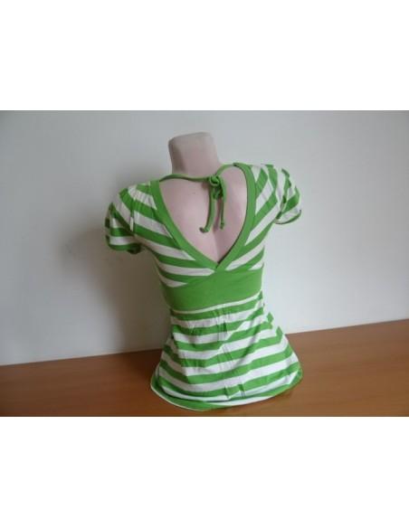 Tricou verde cu dungi albe PIMKIE basic