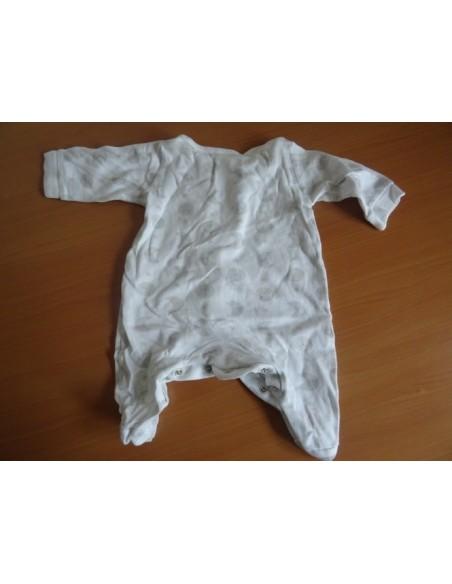 Body cu maneca lunga BabyClub alb cu imprimeu gri