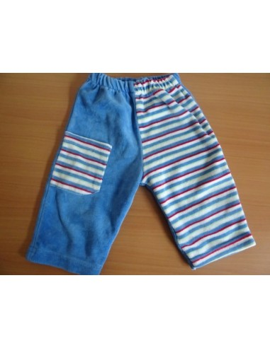 Pantaloni baietel albastri cu dungi colorate si buzunar
