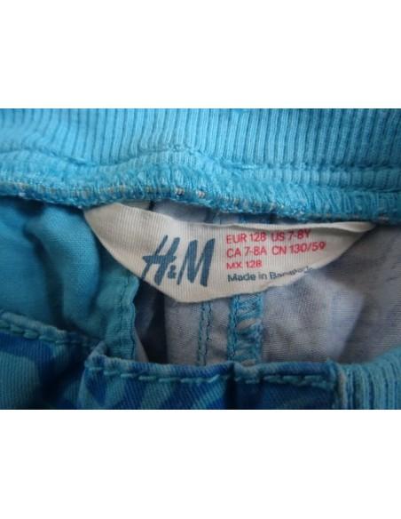 Pantaloni H&M albastri cu imprimeu si inchidere cu snur