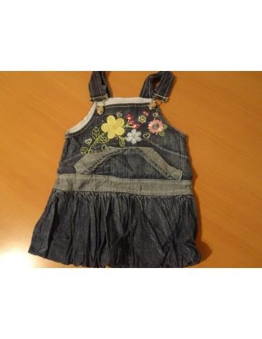 Sarafan de blug fetite negru cu imprimeu floral