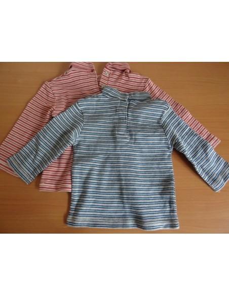 Set bluze cu maneca lunga pe gat Kitchoun in dungi