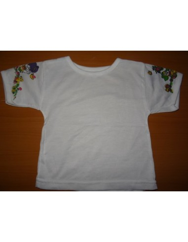 Tricou alb cu imprimeuri pe maneca colorate