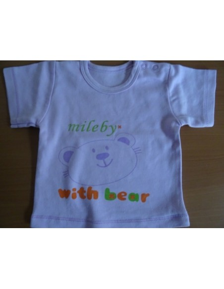 Tricou MiLeby alba cu ursulet imprimat in fata