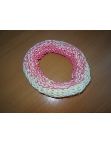 Bentita crosetata alb cu roz fetite