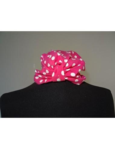 Turban fetite roz cu buline albe