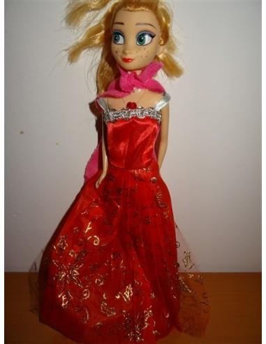 Papusa Elsa cu rochita rosie