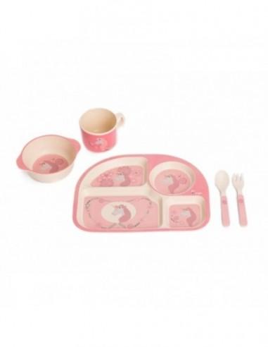 Set cina pentru bebelusi Unicorn Roz