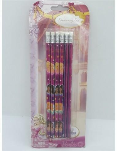 Set 6 creioane grafit cu radiera Barbie