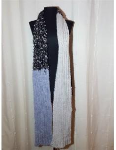 Fular tricotat alb/gri deschis/gri inchis de dama