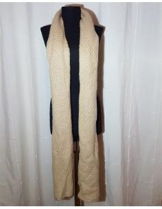 Fular lung bej tricotat cu model