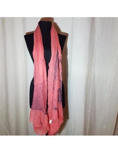 Esarfa roz cu imprimeu Pami