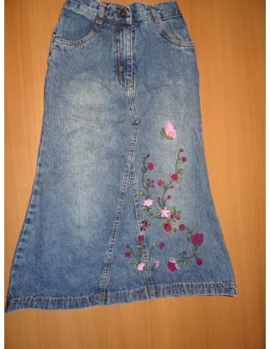 Fusta jeans cu floricele brodate