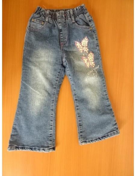 Jeans cu fluturasi roz