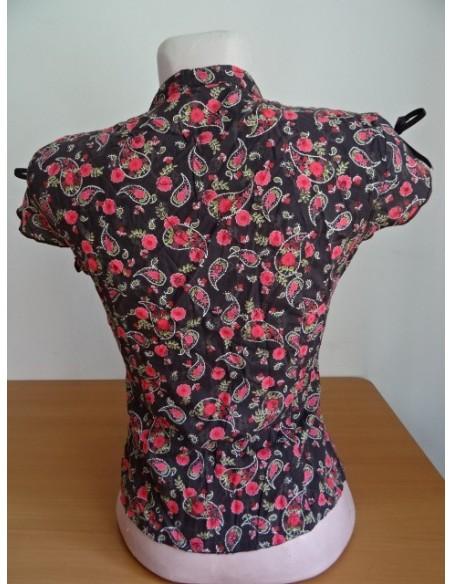 Camasa dama maneca scurta neagra cu flori rosii