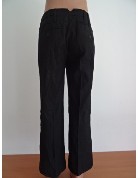 Pantaloni dama office negri cu dunga MANGO