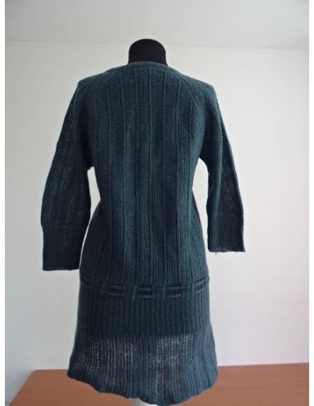 Pulover dama lung gri cu snur la mijloc BASIC