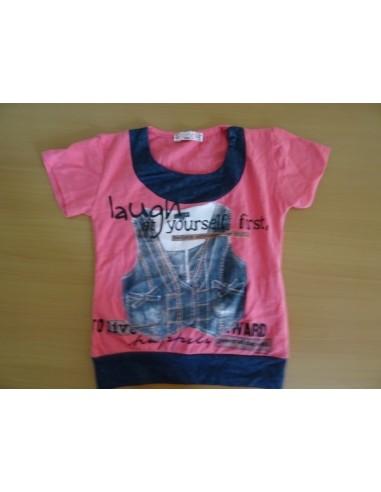 Tricou roz fetite, disponibil marimile 104 si 116