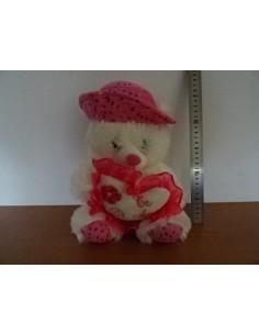 Ursulet alb de plus cu palarie roz