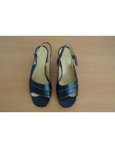 Sandale dama, din piele cu toc gros