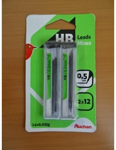 Mine creion 0.5 mm, 2x12 AUCHAN