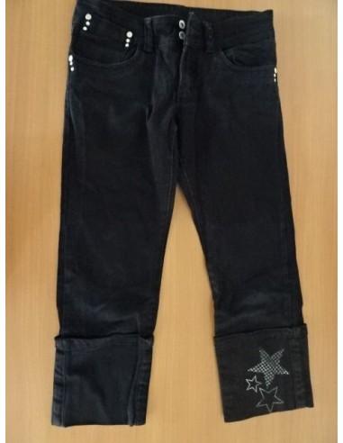 Jeans negri,trei sferturi cu stelute argintii