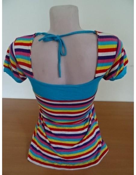 Tricou multicolor cu fundita