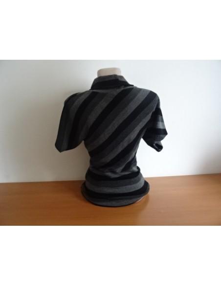 Bluza maneca scurta MAI.MAI in dungi negru cu gri