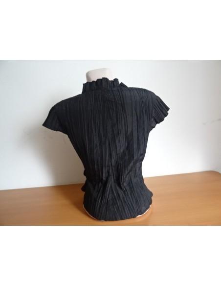 Camasa Creponata A&D Fashion neagra cu prindere laterala